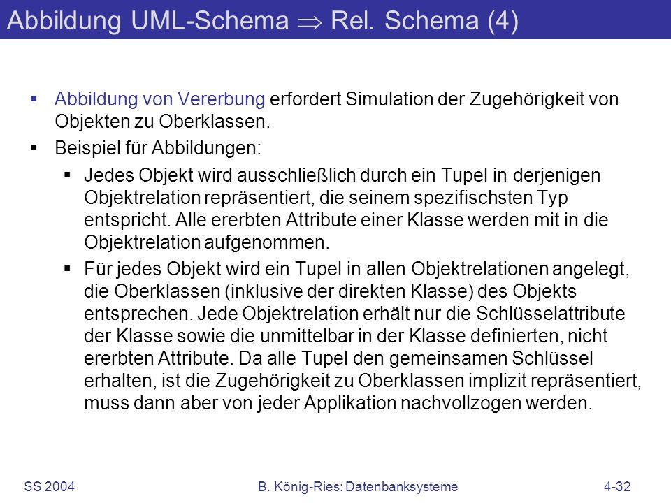 SS 2004B. König-Ries: Datenbanksysteme4-32 Abbildung UML-Schema Rel. Schema (4) Abbildung von Vererbung erfordert Simulation der Zugehörigkeit von Obj