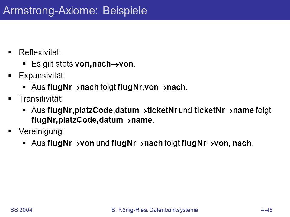 SS 2004B. König-Ries: Datenbanksysteme4-45 Armstrong-Axiome: Beispiele Reflexivität: Es gilt stets von,nach von. Expansivität: Aus flugNr nach folgt f