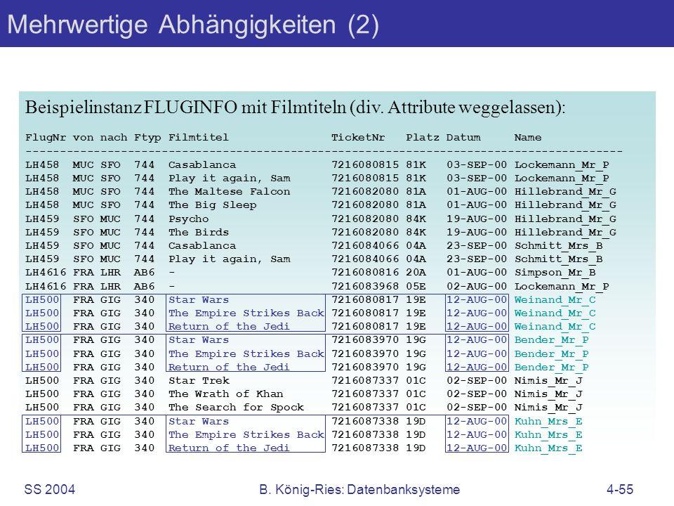 SS 2004B. König-Ries: Datenbanksysteme4-55 Beispielinstanz FLUGINFO mit Filmtiteln (div. Attribute weggelassen): FlugNr von nach Ftyp Filmtitel Ticket