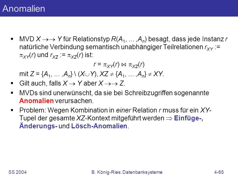 SS 2004B. König-Ries: Datenbanksysteme4-65 Anomalien MVD X Y für Relationstyp R(A 1,...,A n ) besagt, dass jede Instanz r natürliche Verbindung semant