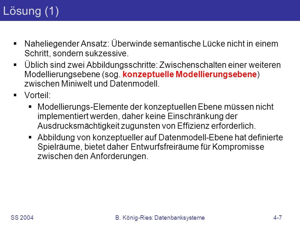 SS 2004B. König-Ries: Datenbanksysteme4-7 Lösung (1) Naheliegender Ansatz: Überwinde semantische Lücke nicht in einem Schritt, sondern sukzessive. Übl
