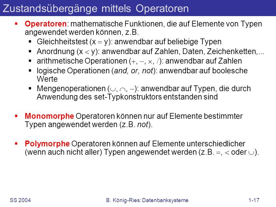 SS 2004B. König-Ries: Datenbanksysteme1-17 Zustandsübergänge mittels Operatoren Operatoren: mathematische Funktionen, die auf Elemente von Typen angew