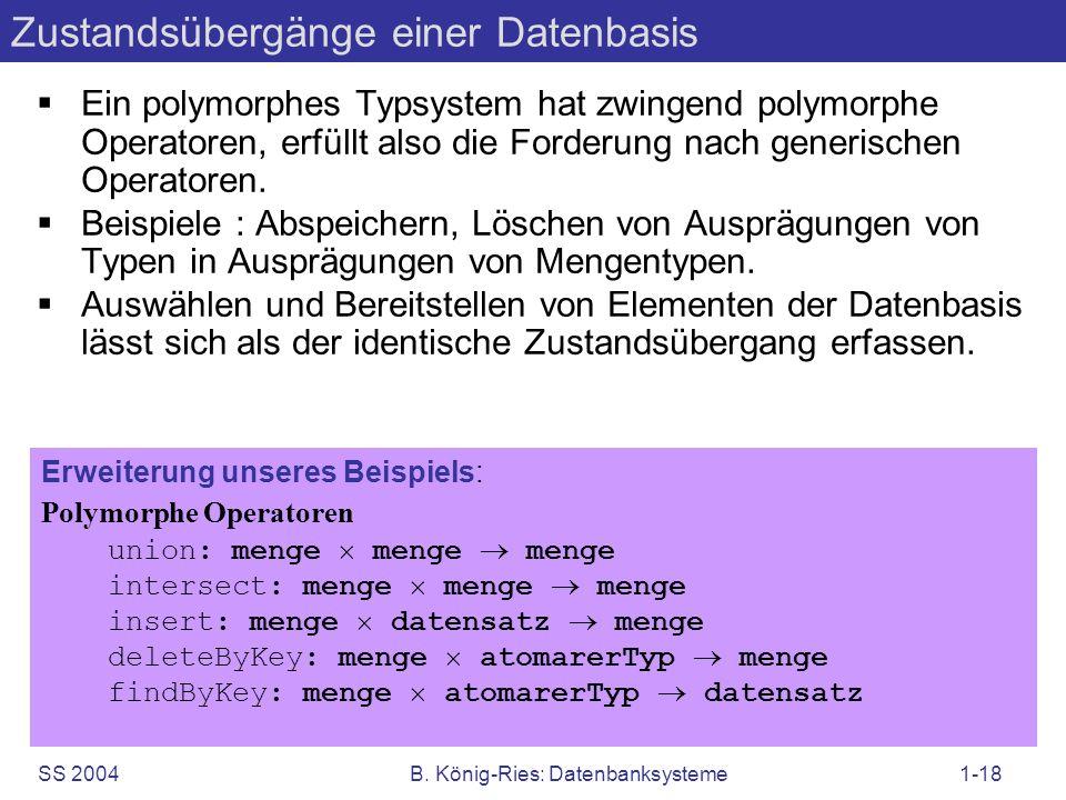 SS 2004B. König-Ries: Datenbanksysteme1-18 Ein polymorphes Typsystem hat zwingend polymorphe Operatoren, erfüllt also die Forderung nach generischen O