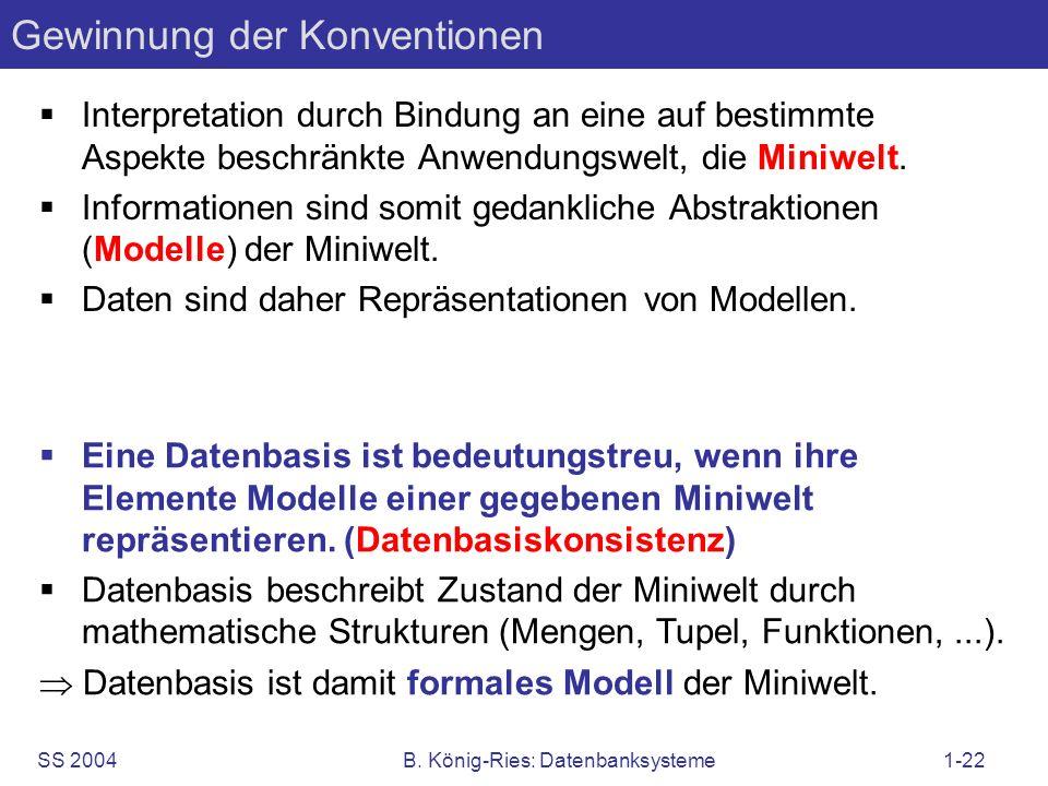 SS 2004B. König-Ries: Datenbanksysteme1-22 Gewinnung der Konventionen Interpretation durch Bindung an eine auf bestimmte Aspekte beschränkte Anwendung