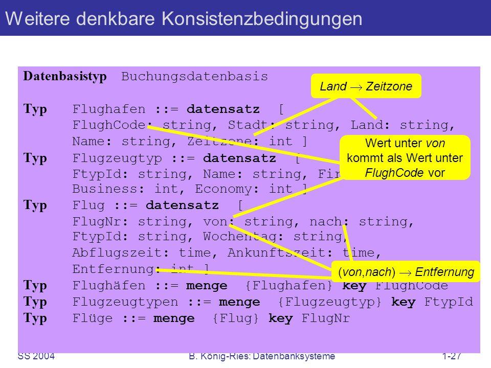 SS 2004B. König-Ries: Datenbanksysteme1-27 Weitere denkbare Konsistenzbedingungen Datenbasistyp Buchungsdatenbasis Typ Flughafen ::= datensatz [ Flugh