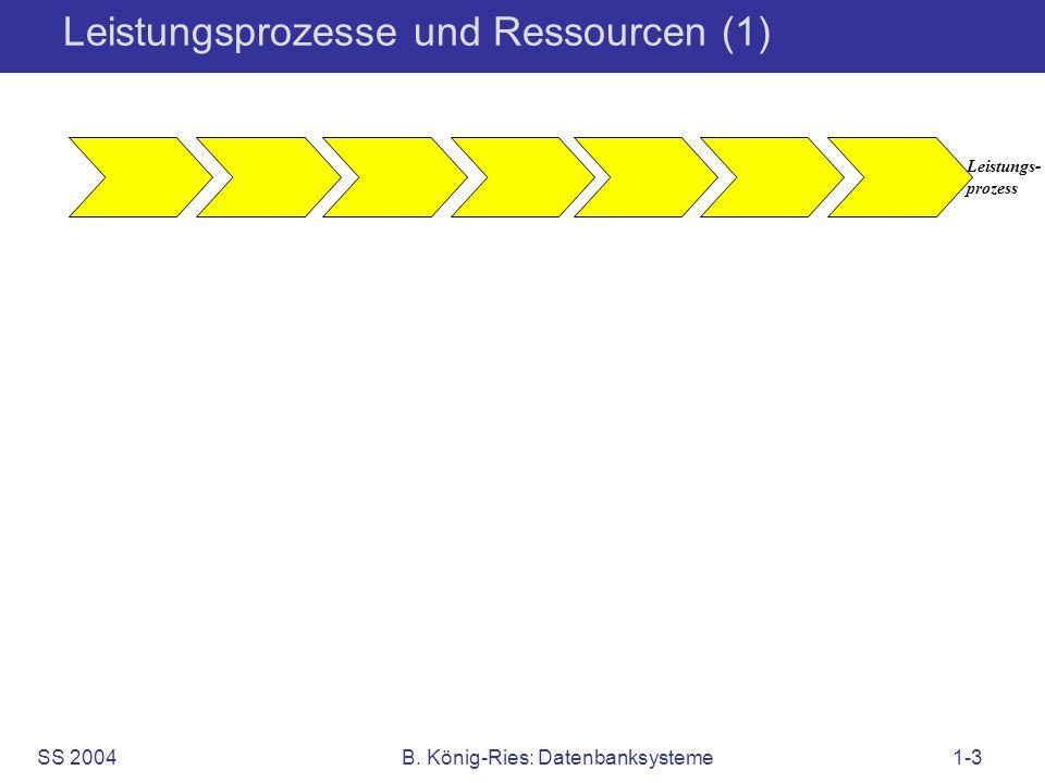 SS 2004B. König-Ries: Datenbanksysteme1-3 Leistungsprozesse und Ressourcen (1) Leistungs- prozess