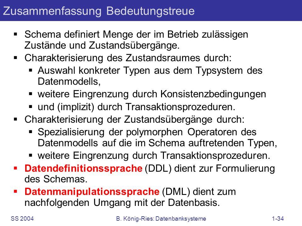 SS 2004B. König-Ries: Datenbanksysteme1-34 Zusammenfassung Bedeutungstreue Schema definiert Menge der im Betrieb zulässigen Zustände und Zustandsüberg