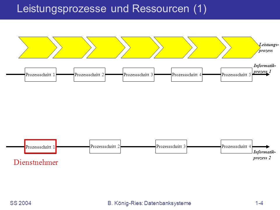 SS 2004B. König-Ries: Datenbanksysteme1-4 Leistungsprozesse und Ressourcen (1) Informatik- prozess 1 Prozessschritt 1 Prozessschritt 2Prozessschritt 3
