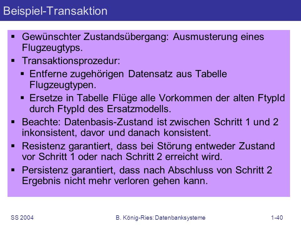 SS 2004B. König-Ries: Datenbanksysteme1-40 Beispiel-Transaktion Gewünschter Zustandsübergang: Ausmusterung eines Flugzeugtyps. Transaktionsprozedur: E
