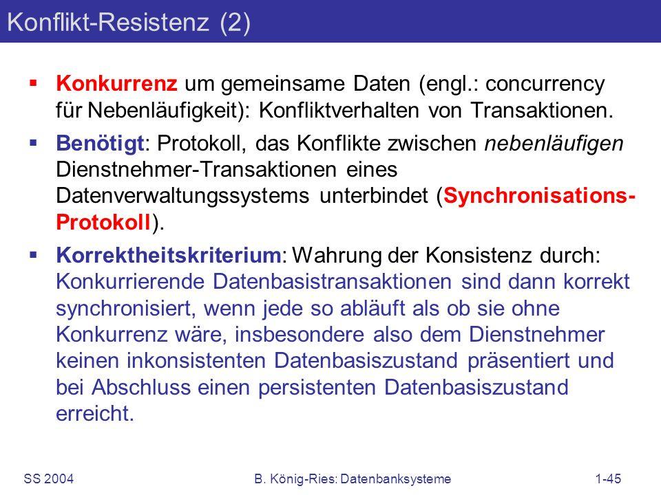 SS 2004B. König-Ries: Datenbanksysteme1-45 Konflikt-Resistenz (2) Konkurrenz um gemeinsame Daten (engl.: concurrency für Nebenläufigkeit): Konfliktver