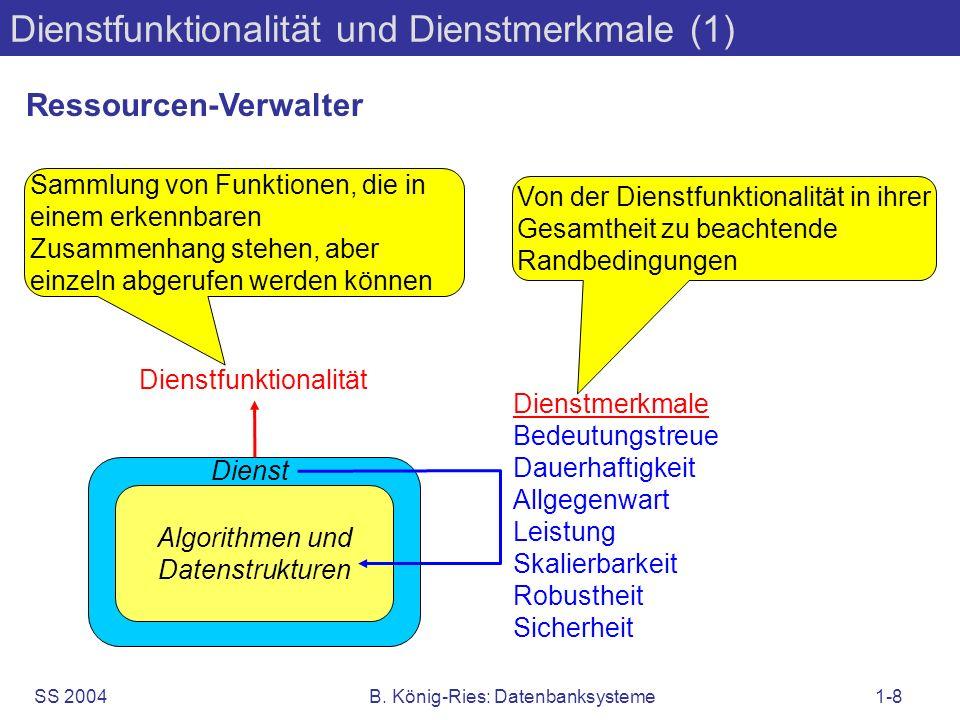 SS 2004B. König-Ries: Datenbanksysteme1-8 Dienstfunktionalität und Dienstmerkmale (1) Algorithmen und Datenstrukturen Dienst Dienstmerkmale Bedeutungs
