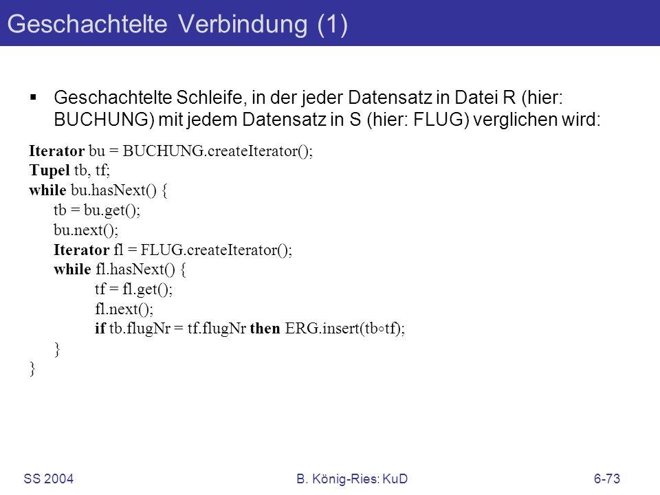 SS 2004B. König-Ries: KuD6-73 Geschachtelte Verbindung (1) Geschachtelte Schleife, in der jeder Datensatz in Datei R (hier: BUCHUNG) mit jedem Datensa