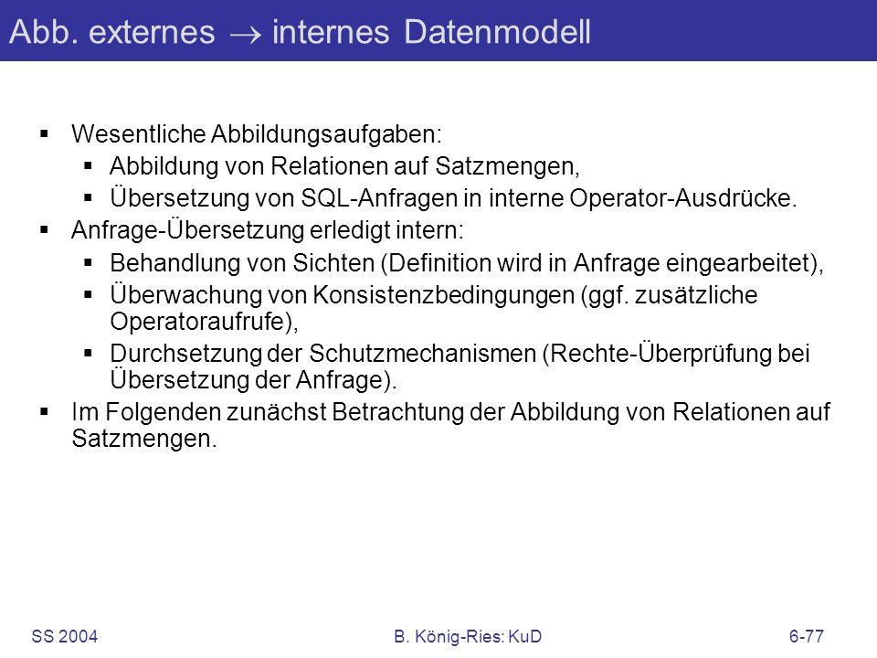 SS 2004B. König-Ries: KuD6-77 Abb. externes internes Datenmodell Wesentliche Abbildungsaufgaben: Abbildung von Relationen auf Satzmengen, Übersetzung
