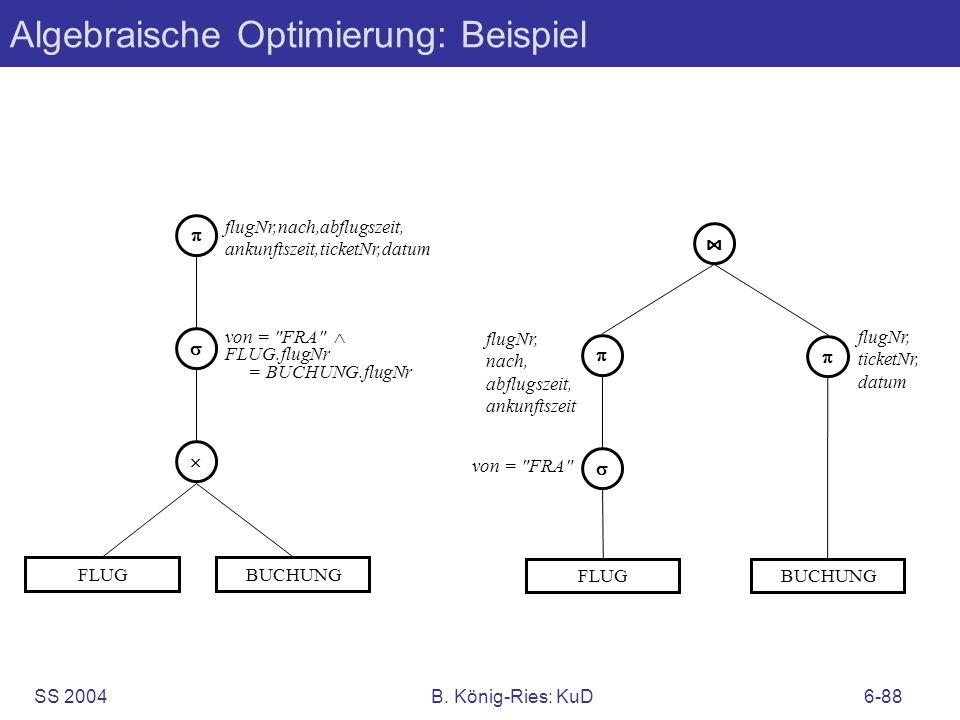 SS 2004B. König-Ries: KuD6-88 Algebraische Optimierung: Beispiel FLUG flugNr,nach,abflugszeit, ankunftszeit,ticketNr,datum von =