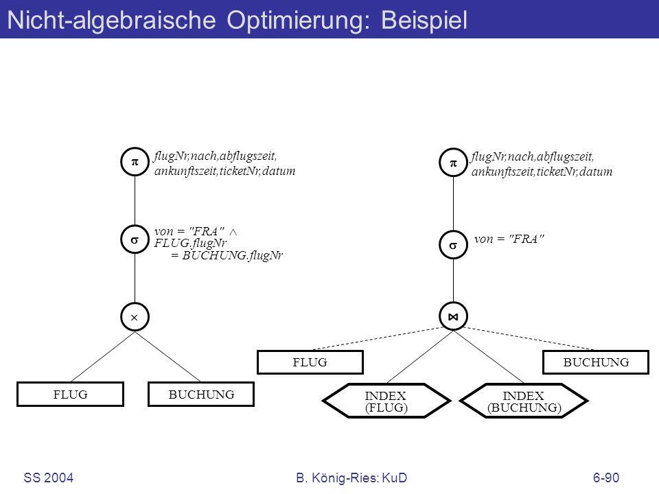 SS 2004B. König-Ries: KuD6-90 Nicht-algebraische Optimierung: Beispiel FLUG flugNr,nach,abflugszeit, ankunftszeit,ticketNr,datum von =