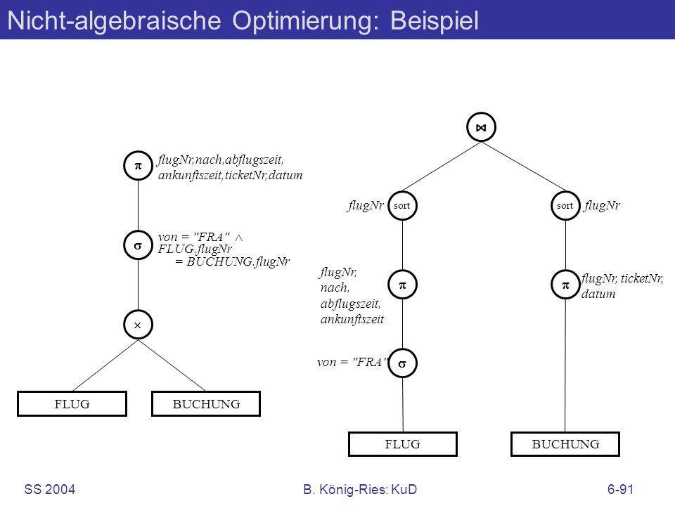 SS 2004B. König-Ries: KuD6-91 Nicht-algebraische Optimierung: Beispiel FLUG flugNr,nach,abflugszeit, ankunftszeit,ticketNr,datum von =