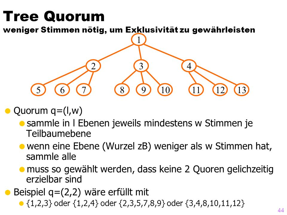 43 Beispiel des Majority/Consensus- Protokolls A x: 122 B 2 G 2 F 2 E 2 D x: 100 C x: 122 T=2 update x x=12 T=3 update x