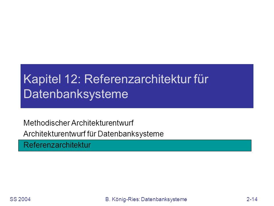 SS 2004B. König-Ries: Datenbanksysteme2-14 Kapitel 12: Referenzarchitektur für Datenbanksysteme Methodischer Architekturentwurf Architekturentwurf für