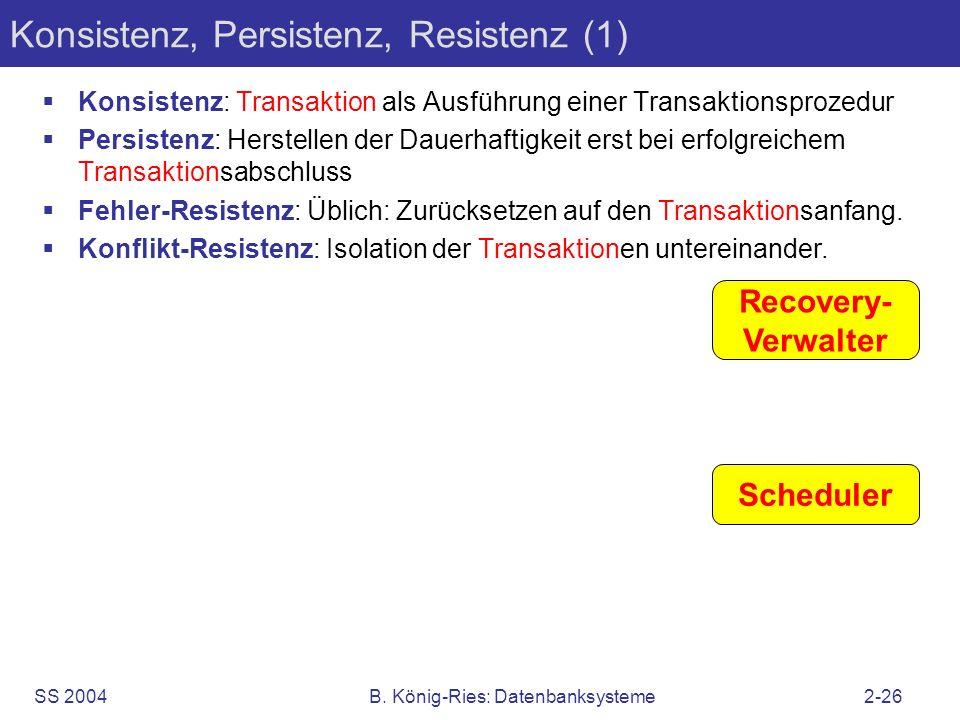 SS 2004B. König-Ries: Datenbanksysteme2-26 Konsistenz, Persistenz, Resistenz (1) Konsistenz: Transaktion als Ausführung einer Transaktionsprozedur Per