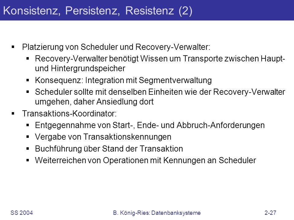 SS 2004B. König-Ries: Datenbanksysteme2-27 Konsistenz, Persistenz, Resistenz (2) Platzierung von Scheduler und Recovery-Verwalter: Recovery-Verwalter