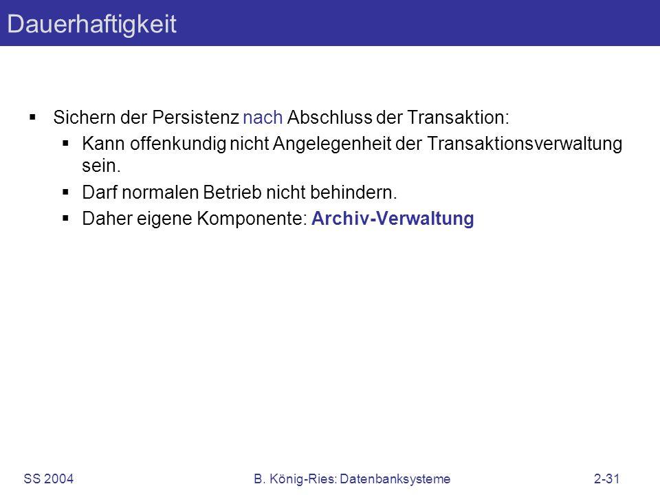 SS 2004B. König-Ries: Datenbanksysteme2-31 Dauerhaftigkeit Sichern der Persistenz nach Abschluss der Transaktion: Kann offenkundig nicht Angelegenheit