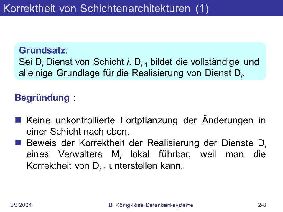 SS 2004B. König-Ries: Datenbanksysteme2-8 Korrektheit von Schichtenarchitekturen (1) Begründung : nKeine unkontrollierte Fortpflanzung der Änderungen