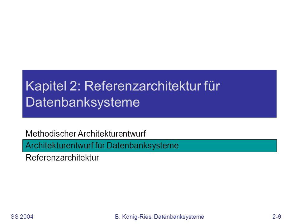 SS 2004B. König-Ries: Datenbanksysteme2-9 Kapitel 2: Referenzarchitektur für Datenbanksysteme Methodischer Architekturentwurf Architekturentwurf für D