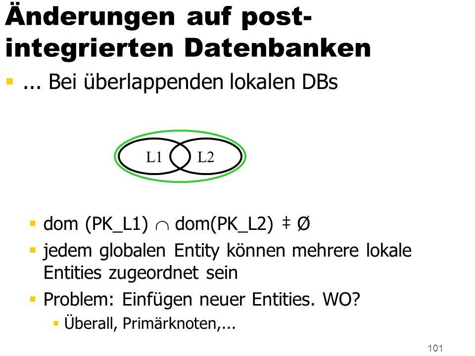 101 Änderungen auf post- integrierten Datenbanken... Bei überlappenden lokalen DBs dom (PK_L1) dom(PK_L2) Ø jedem globalen Entity können mehrere lokal