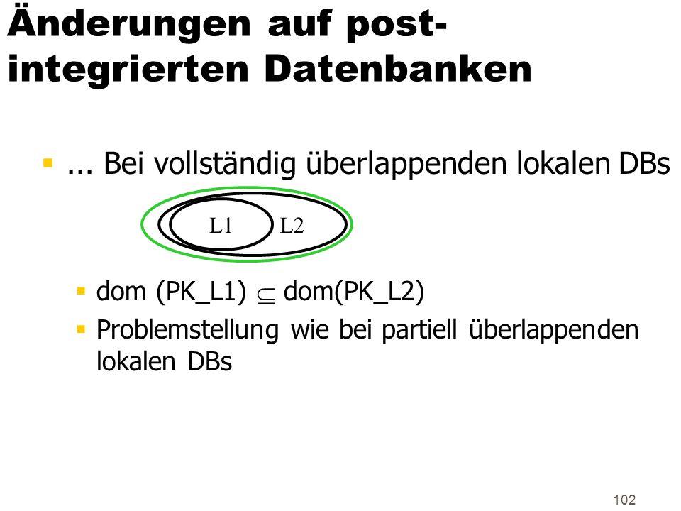 102 Änderungen auf post- integrierten Datenbanken... Bei vollständig überlappenden lokalen DBs dom (PK_L1) dom(PK_L2) Problemstellung wie bei partiell