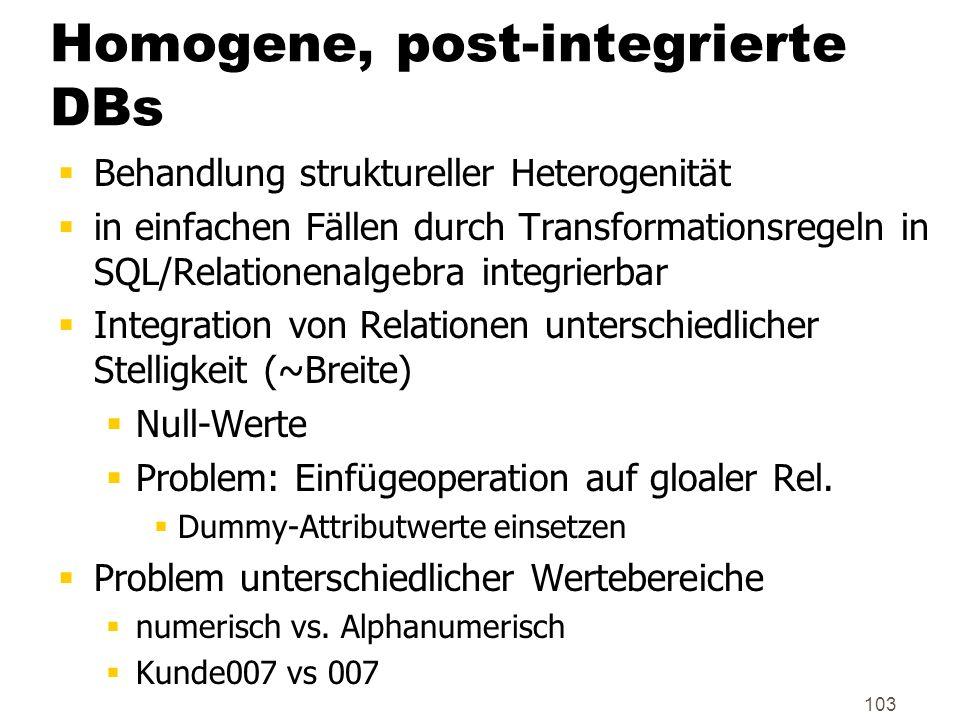 103 Homogene, post-integrierte DBs Behandlung struktureller Heterogenität in einfachen Fällen durch Transformationsregeln in SQL/Relationenalgebra int