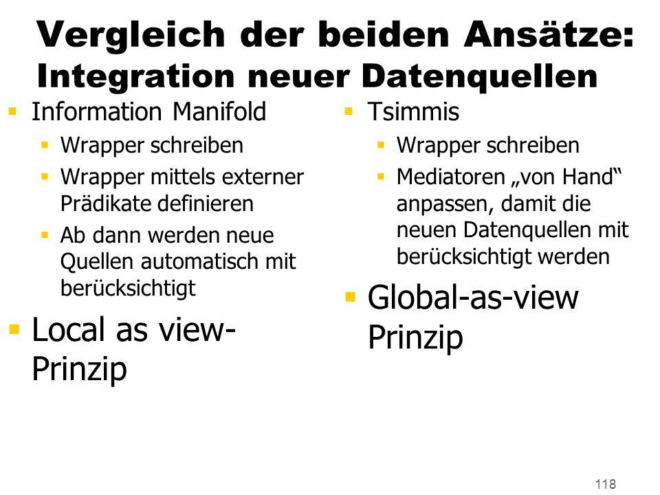 118 Vergleich der beiden Ansätze: Integration neuer Datenquellen Information Manifold Wrapper schreiben Wrapper mittels externer Prädikate definieren