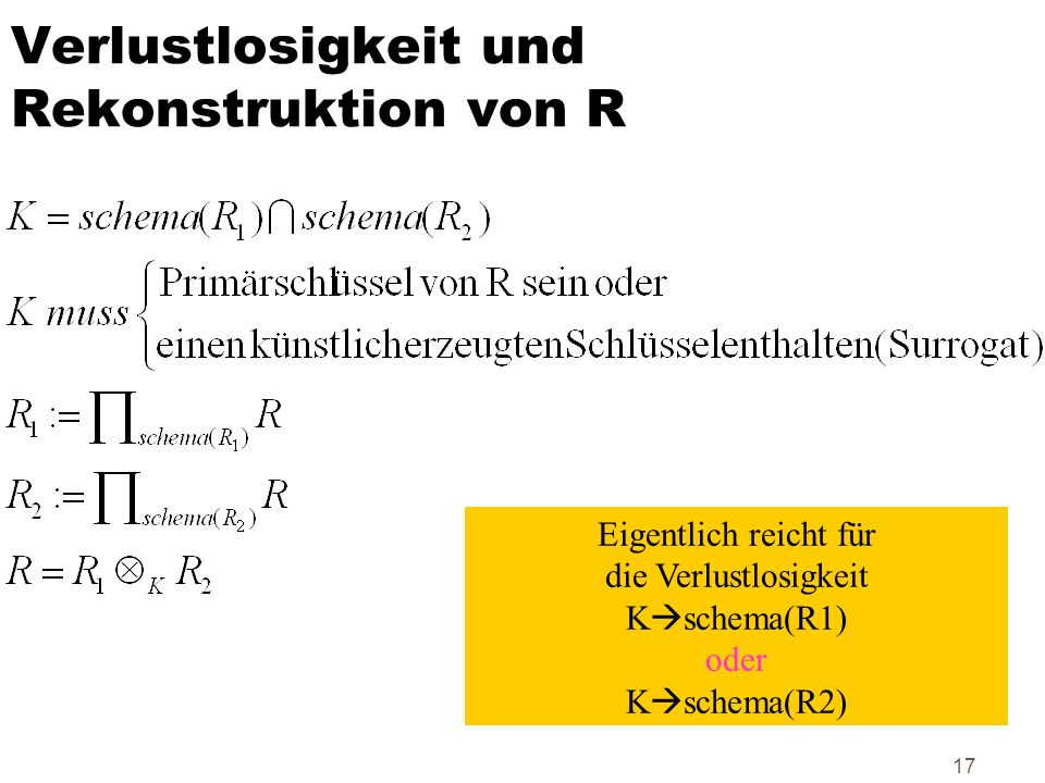 17 Verlustlosigkeit und Rekonstruktion von R Eigentlich reicht für die Verlustlosigkeit K schema(R1) oder K schema(R2)