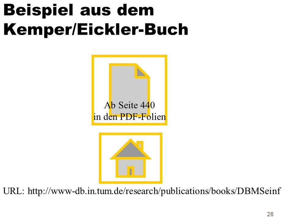 26 Beispiel aus dem Kemper/Eickler-Buch Ab Seite 440 in den PDF-Folien URL: http://www-db.in.tum.de/research/publications/books/DBMSeinf