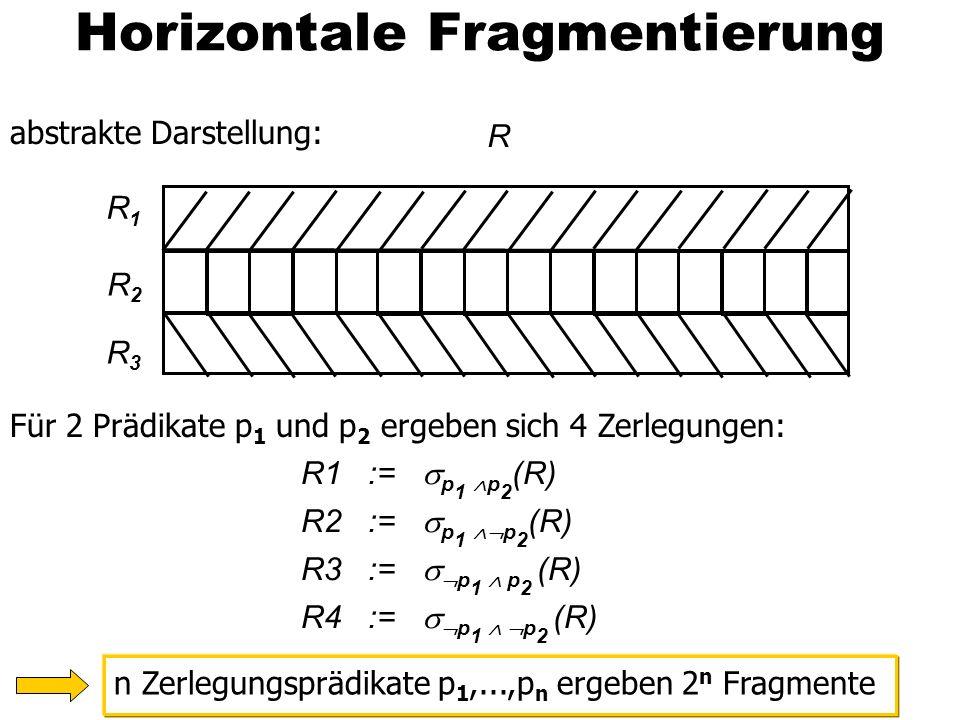 28 Horizontale Fragmentierung abstrakte Darstellung: Für 2 Prädikate p 1 und p 2 ergeben sich 4 Zerlegungen: n Zerlegungsprädikate p 1,...,p n ergeben