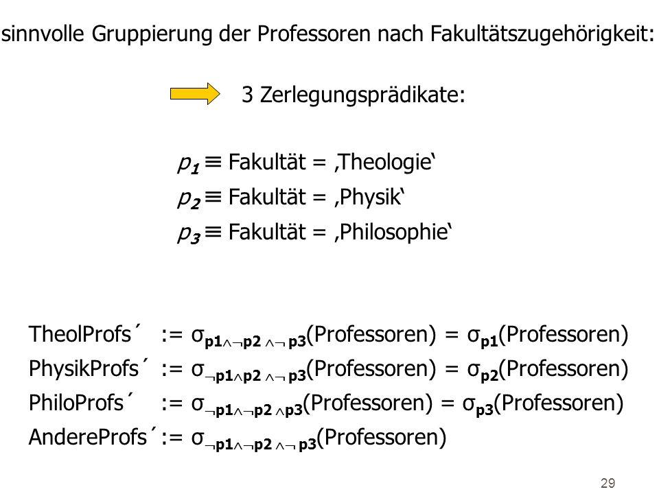 29 sinnvolle Gruppierung der Professoren nach Fakultätszugehörigkeit: 3 Zerlegungsprädikate: p 1 Fakultät = Theologie p 2 Fakultät = Physik p 3 Fakult