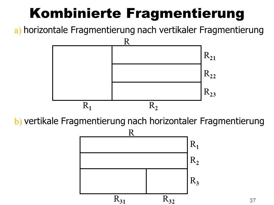 37 Kombinierte Fragmentierung a) a) horizontale Fragmentierung nach vertikaler Fragmentierung b) b) vertikale Fragmentierung nach horizontaler Fragmen