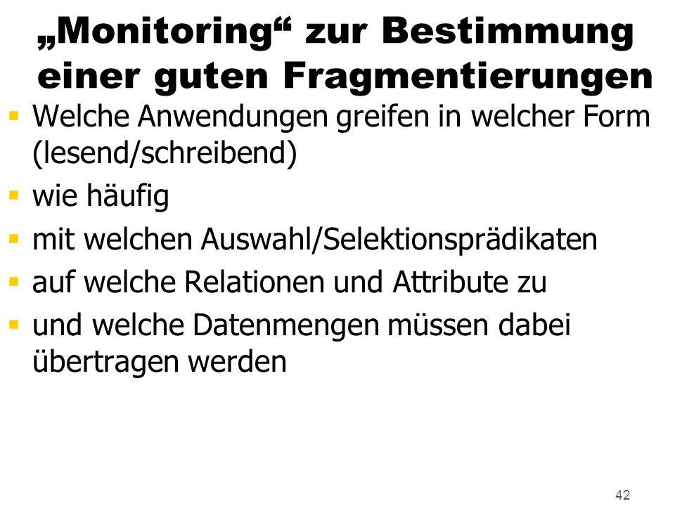 42 Monitoring zur Bestimmung einer guten Fragmentierungen Welche Anwendungen greifen in welcher Form (lesend/schreibend) wie häufig mit welchen Auswah