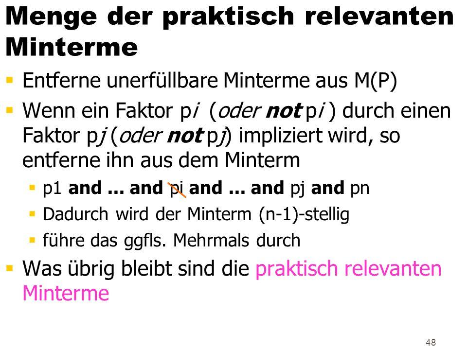 48 Entferne unerfüllbare Minterme aus M(P) Wenn ein Faktor pi (oder not pi ) durch einen Faktor pj (oder not pj) impliziert wird, so entferne ihn aus