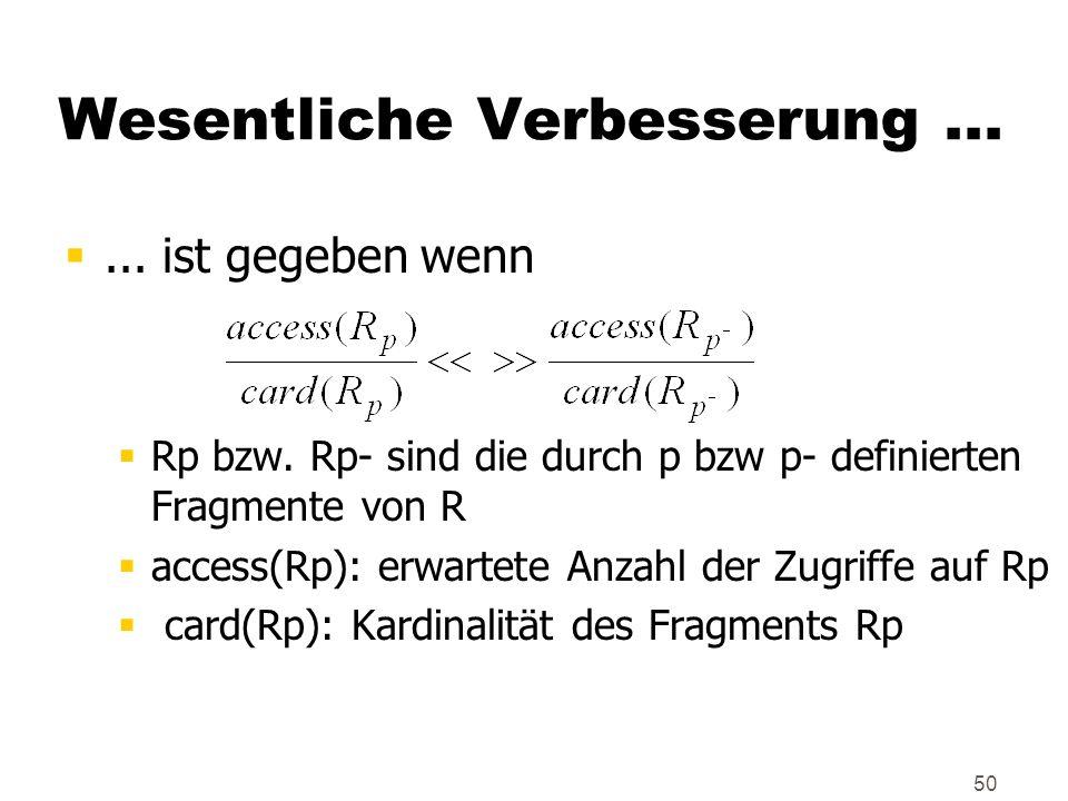 50... ist gegeben wenn Rp bzw. Rp- sind die durch p bzw p- definierten Fragmente von R access(Rp): erwartete Anzahl der Zugriffe auf Rp card(Rp): Kard
