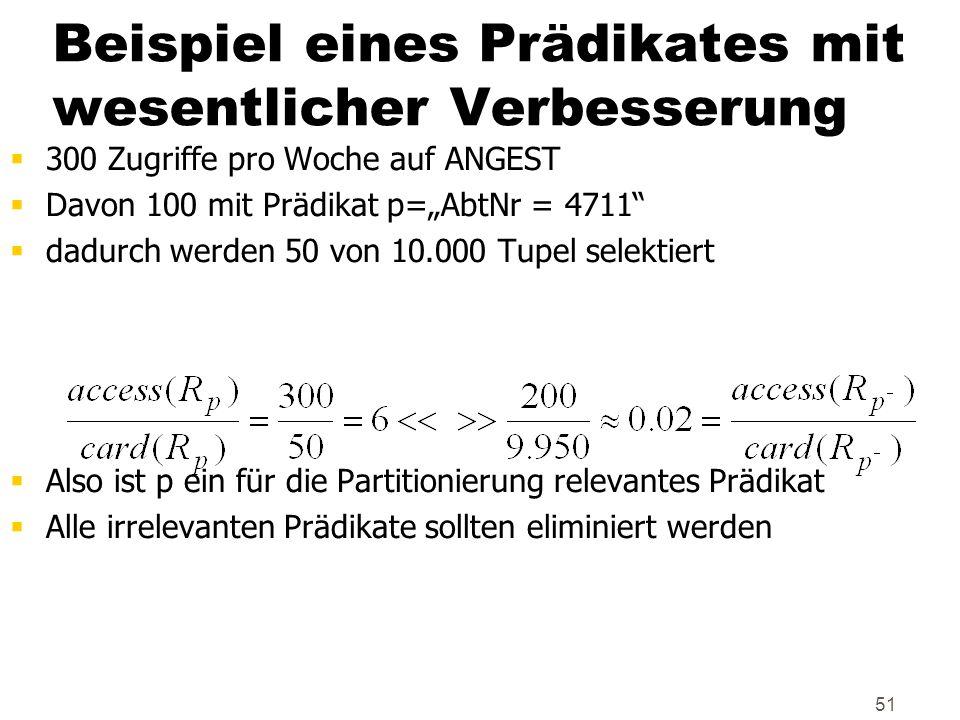 51 Beispiel eines Prädikates mit wesentlicher Verbesserung 300 Zugriffe pro Woche auf ANGEST Davon 100 mit Prädikat p=AbtNr = 4711 dadurch werden 50 v