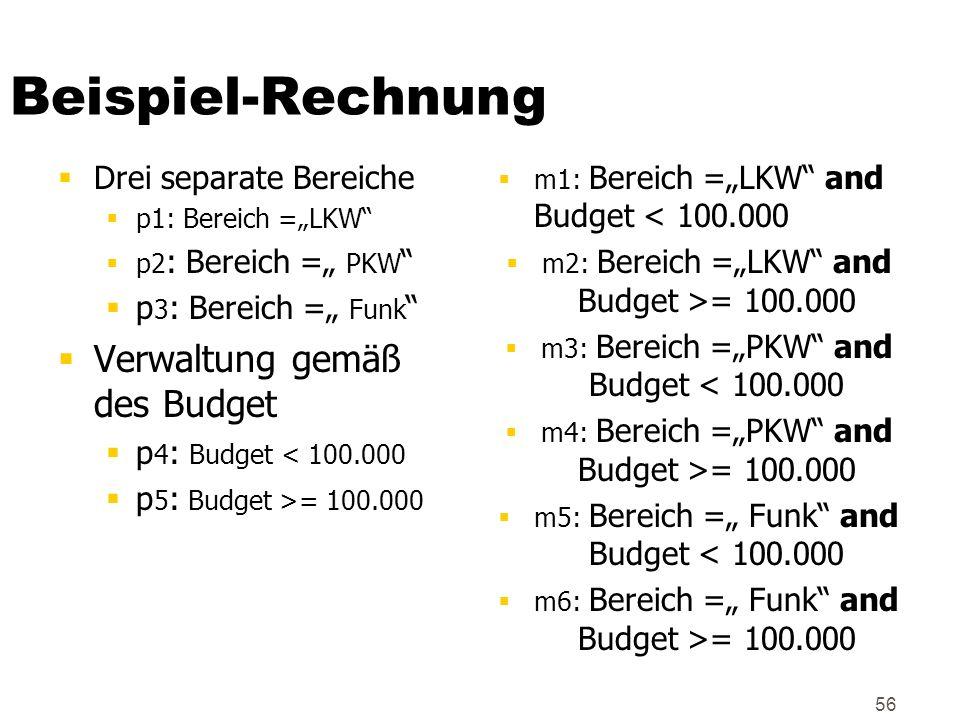 56 Beispiel-Rechnung Drei separate Bereiche p1: Bereich =LKW p2 : Bereich = PKW p 3 : Bereich = Funk Verwaltung gemäß des Budget p 4 : Budget < 100.00