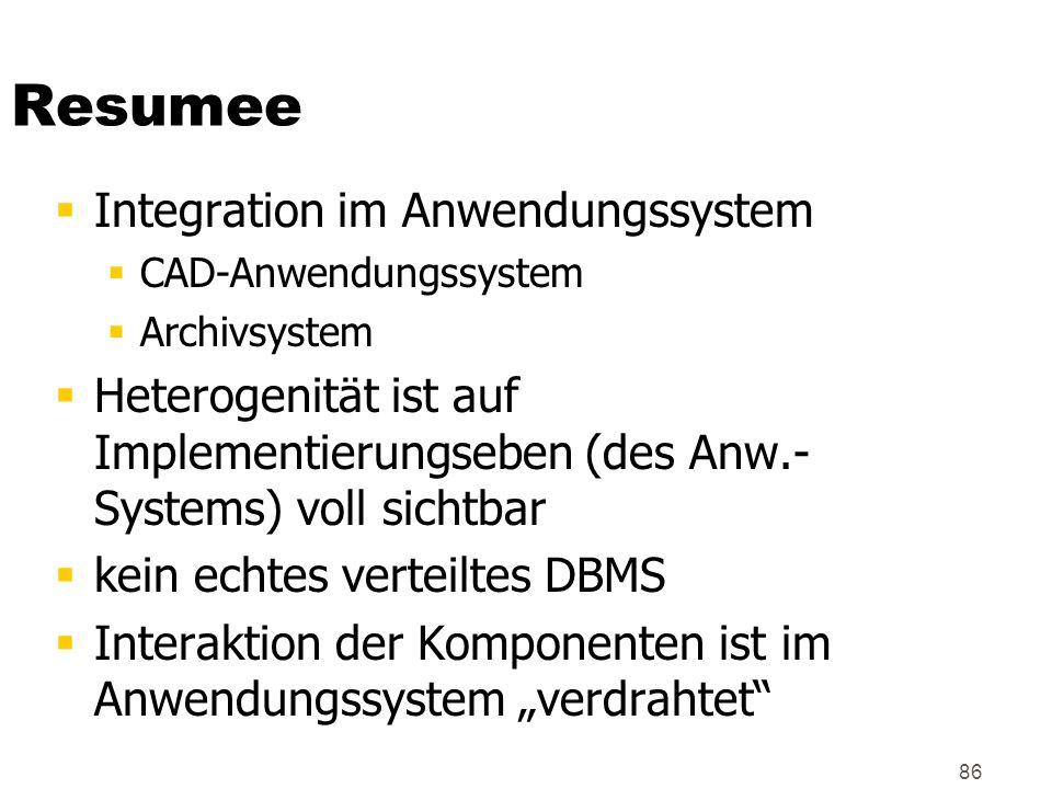 86 Resumee Integration im Anwendungssystem CAD-Anwendungssystem Archivsystem Heterogenität ist auf Implementierungseben (des Anw.- Systems) voll sicht