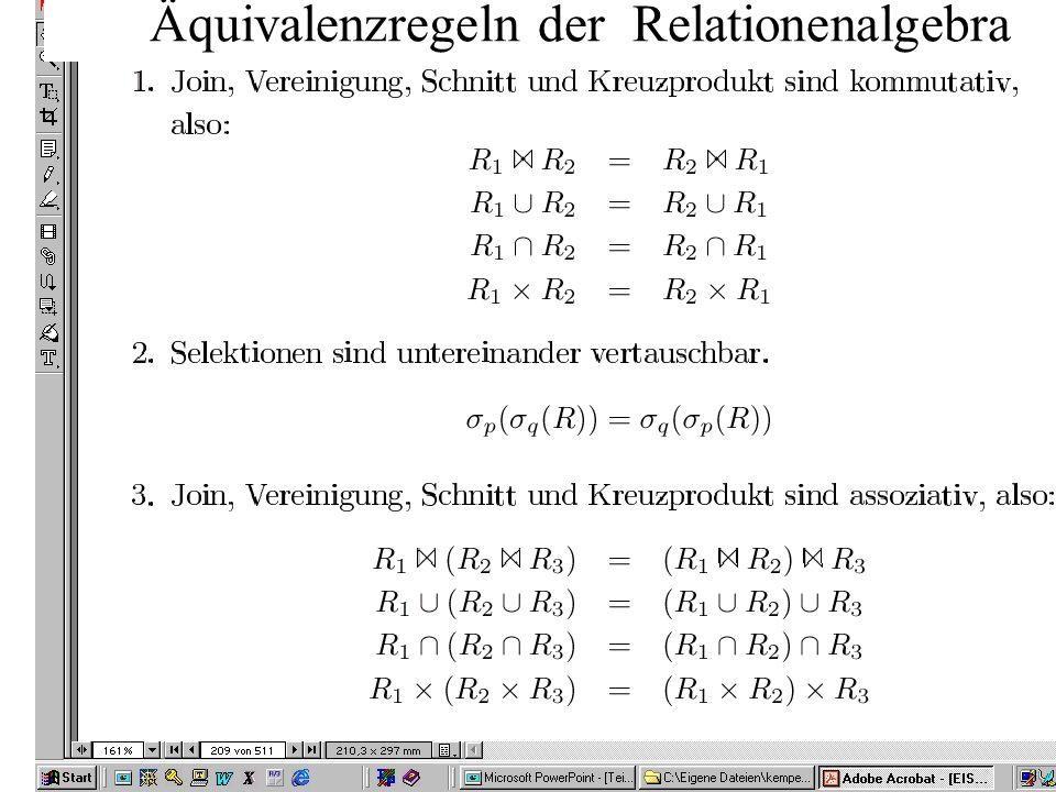 10 Äquivalenzregeln der Relationenalgebra