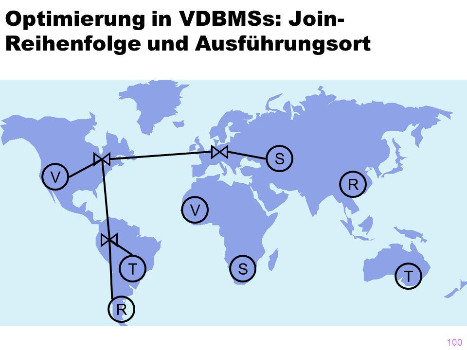 100 Optimierung in VDBMSs: Join- Reihenfolge und Ausführungsort T T S V V R R S