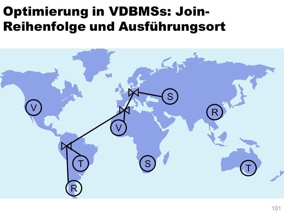 101 Optimierung in VDBMSs: Join- Reihenfolge und Ausführungsort T T S V V R R S