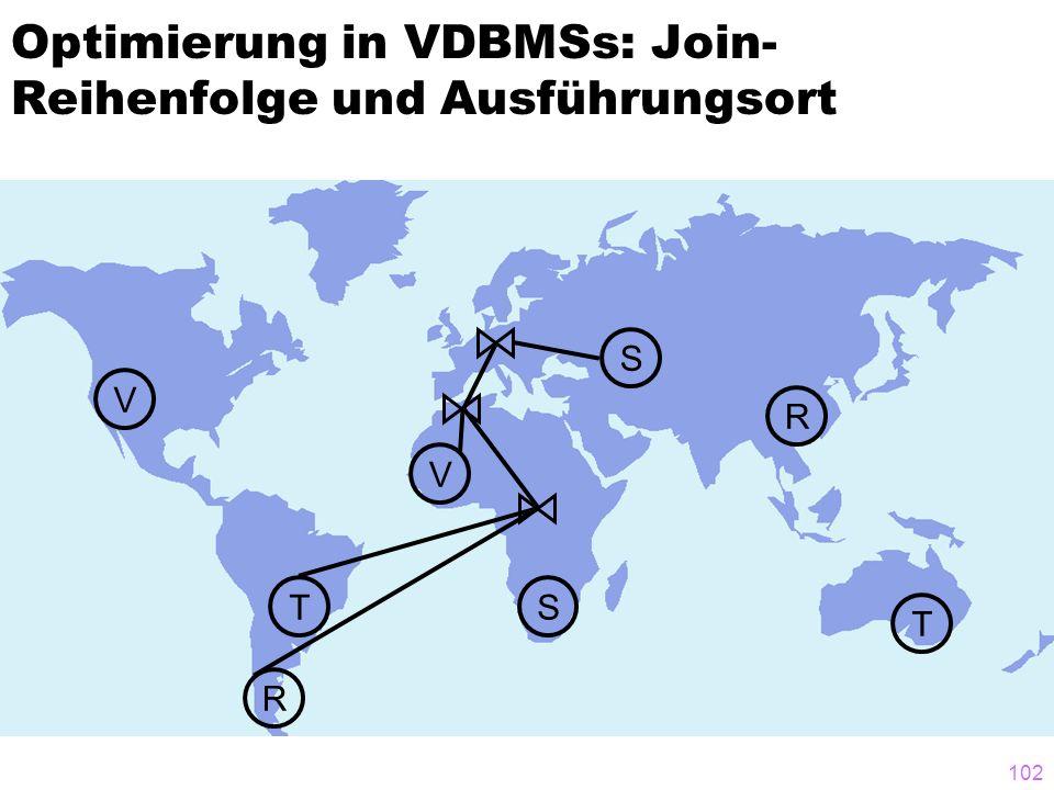 102 Optimierung in VDBMSs: Join- Reihenfolge und Ausführungsort T T S V V R R S