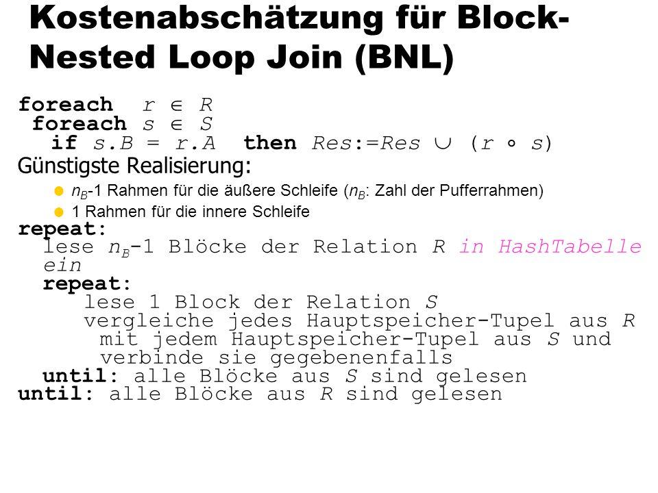 115 foreach r R foreach s S if s.B = r.A then Res:=Res (r s) Günstigste Realisierung: n B -1 Rahmen für die äußere Schleife (n B : Zahl der Pufferrahm