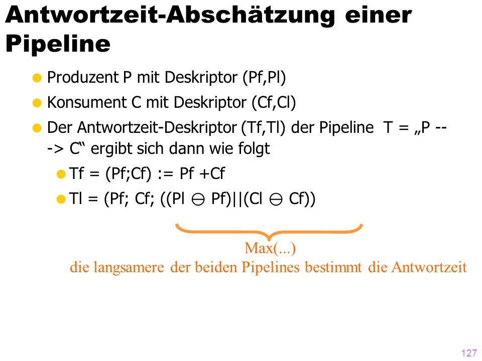 127 Antwortzeit-Abschätzung einer Pipeline Produzent P mit Deskriptor (Pf,Pl) Konsument C mit Deskriptor (Cf,Cl) Der Antwortzeit-Deskriptor (Tf,Tl) de
