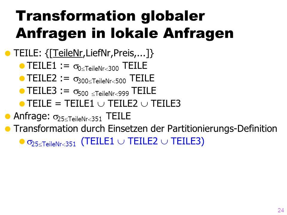 24 Transformation globaler Anfragen in lokale Anfragen TEILE: {[TeileNr,LiefNr,Preis,...]} TEILE1 := 0 TeileNr 300 TEILE TEILE2 := 300 TeileNr 500 TEI