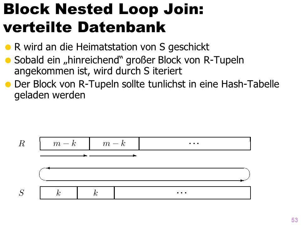 53 Block Nested Loop Join: verteilte Datenbank R wird an die Heimatstation von S geschickt Sobald ein hinreichend großer Block von R-Tupeln angekommen